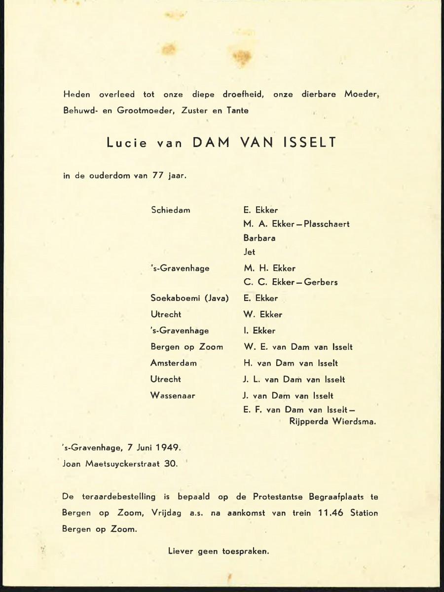Annonce overlijden Lucie van Dam van Isselt