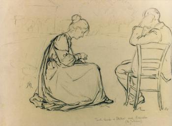 Lucie en Evert Ekker getekend door Auguste Morisot (ca. 1895)