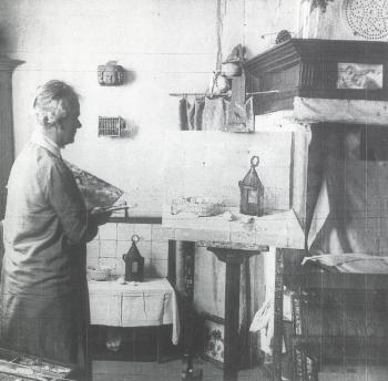 Lucie in haar Veerse atelier (ca. 1925)