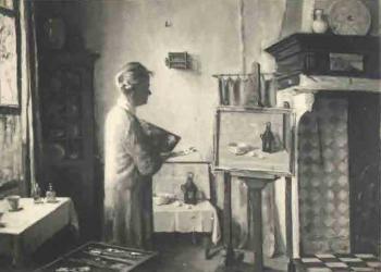 Zelfportret Lucie in haar atelier (ca. 1935)