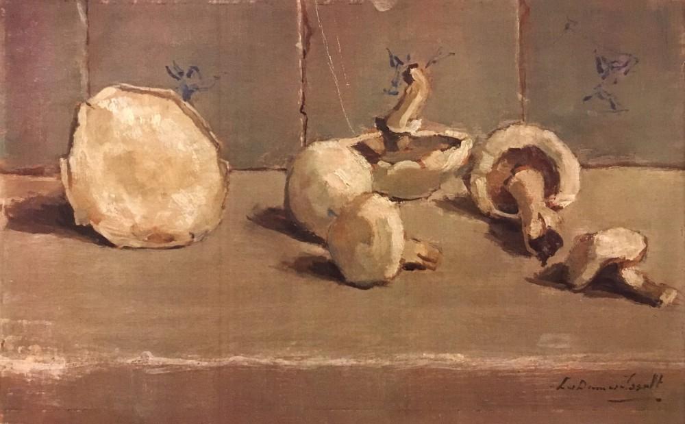 Stilleven met champignons (1944) door Lucie van Dam van Isselt