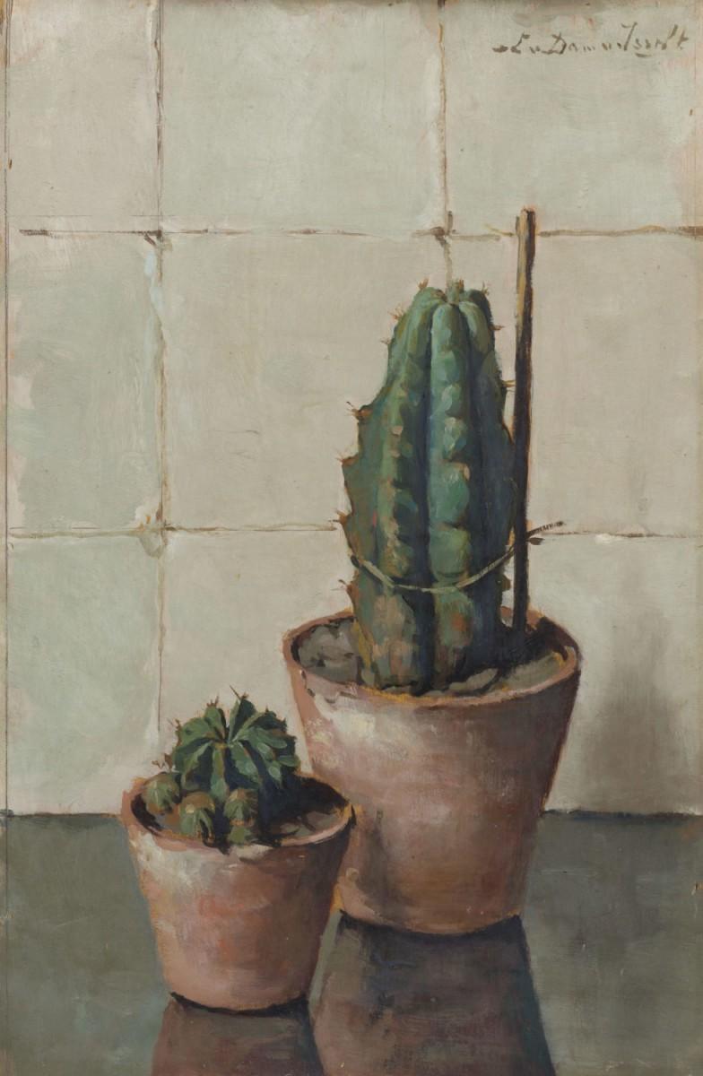 Stilleven met 2 cactussen door Lucie van Dam van Isselt