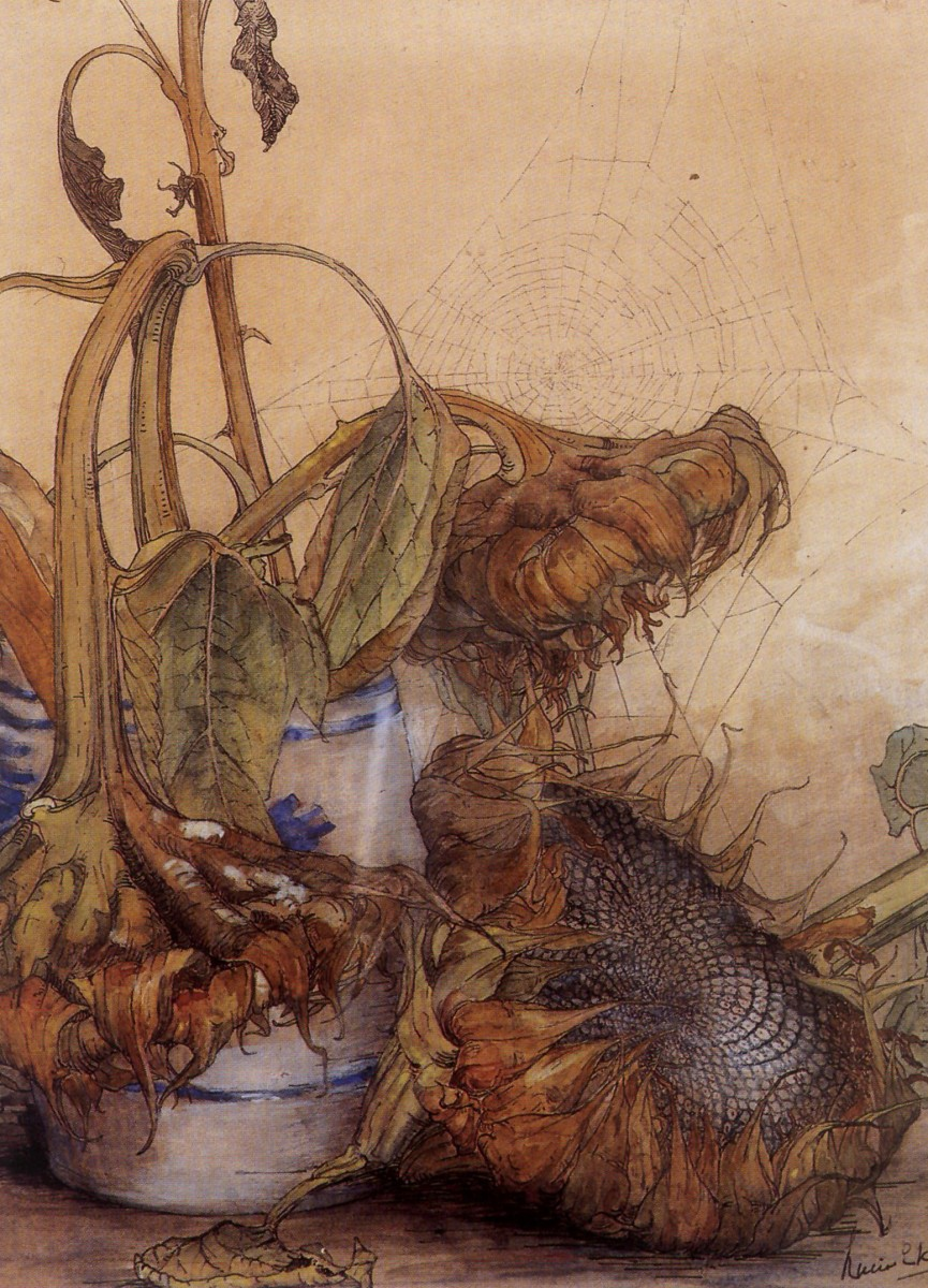 Zonnebloem met Keulse pot (1895-1900) door Lucie van Dam van Isselt