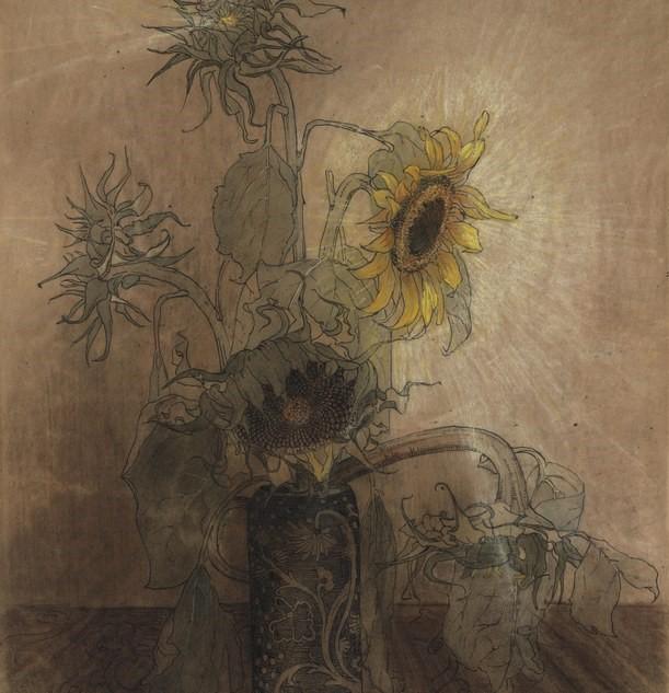 Zonnebloemen in een vaas door Lucie van Dam van Isselt