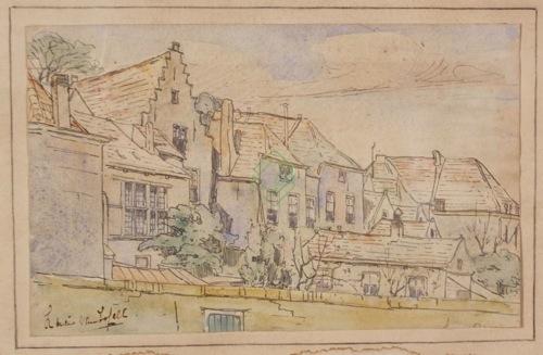 Achterkant van de Schotse huizen in Veere door Lucie van Dam van Isselt