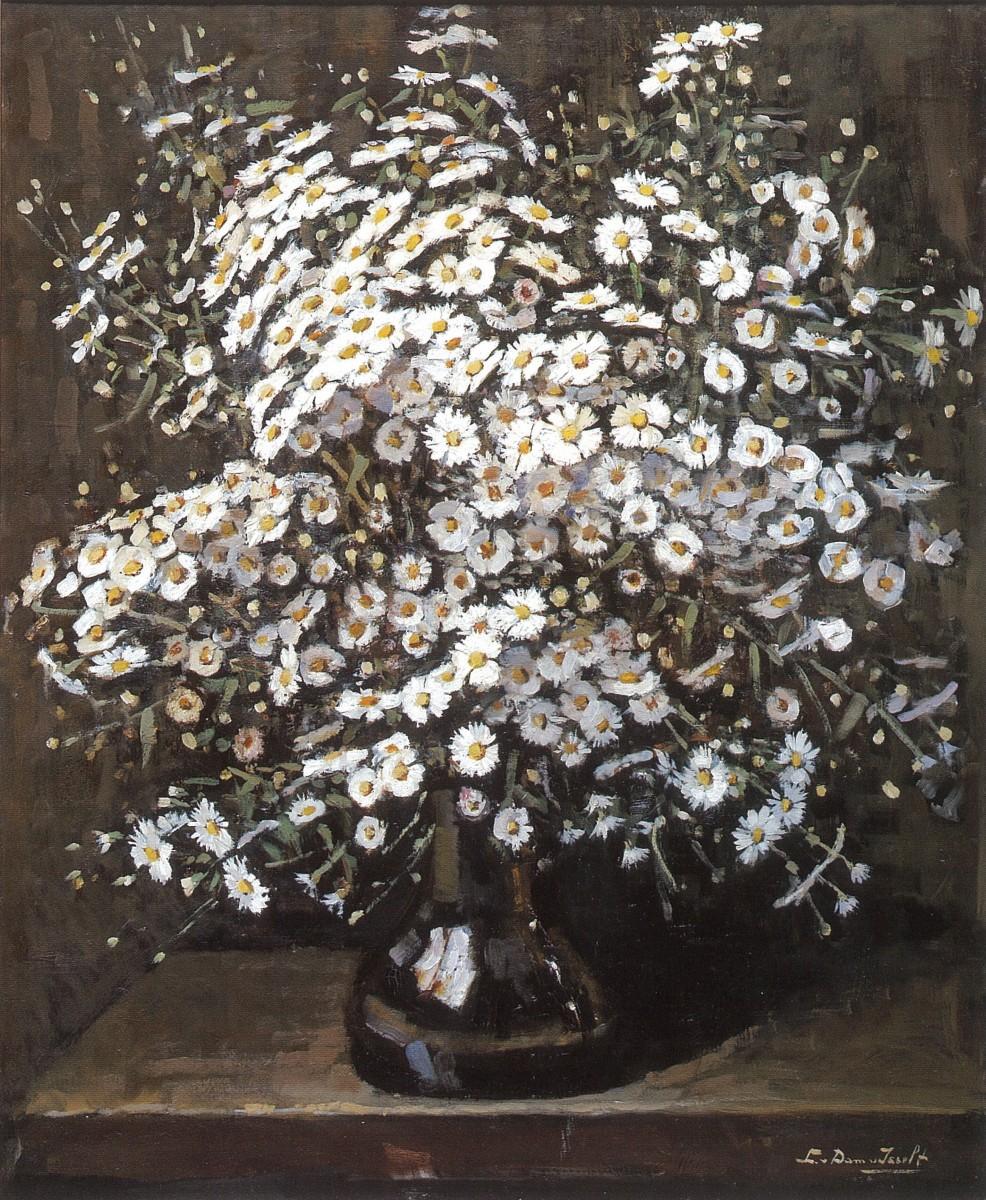 Stilleven met witte bloempjes (ca. 1930-1935) door Lucie van Dam van Isselt