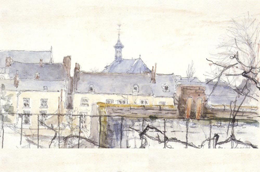 Stadsgezicht in Maastricht (1949) door Lucie van Dam van Isselt