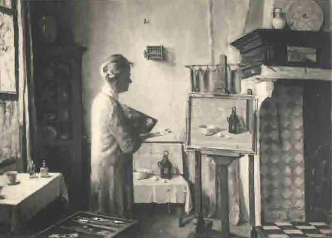 Zelfportret in atelier te Veere (ca. 1935) door Lucie van Dam van Isselt