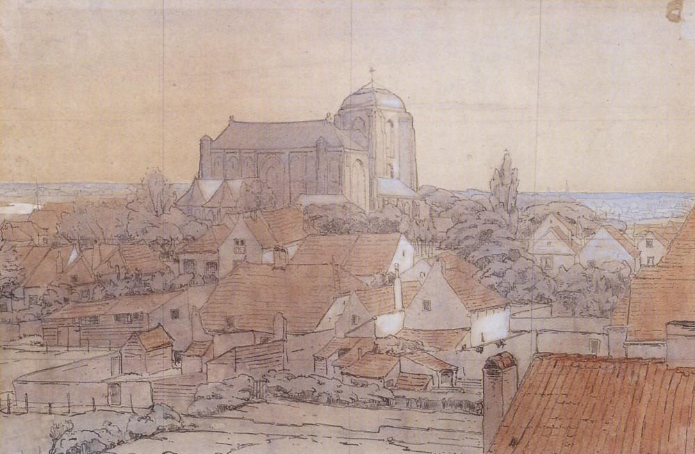 Gezicht op Veere (ca. 1900) door Lucie van Dam van Isselt