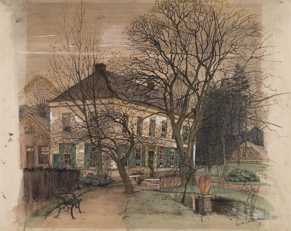 Gezicht op landhuis (ca. 1900) door Lucie van Dam van Isselt