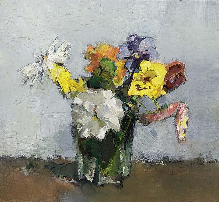 Oude violen om goudsbloem door Lucie van Dam van Isselt