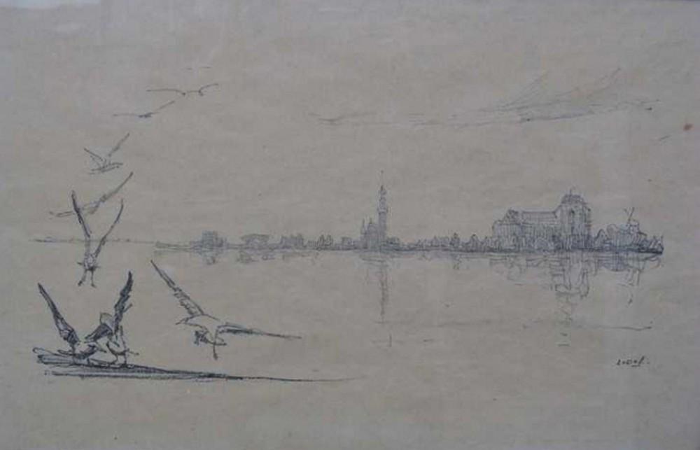 Panorama op Veere (ca. 1910) door Lucie van Dam van Isselt