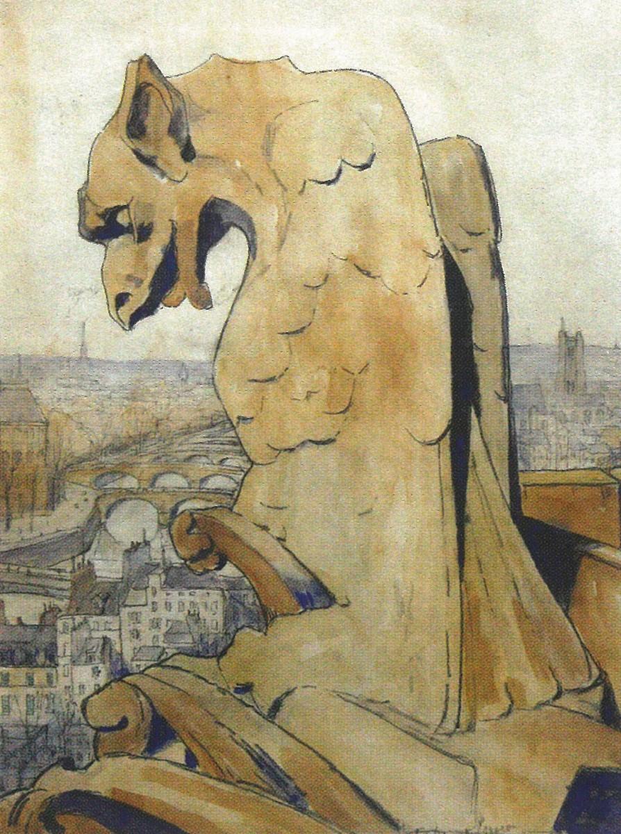 De gargouille van de Notre Dame, Parijs door Lucie van Dam van Isselt