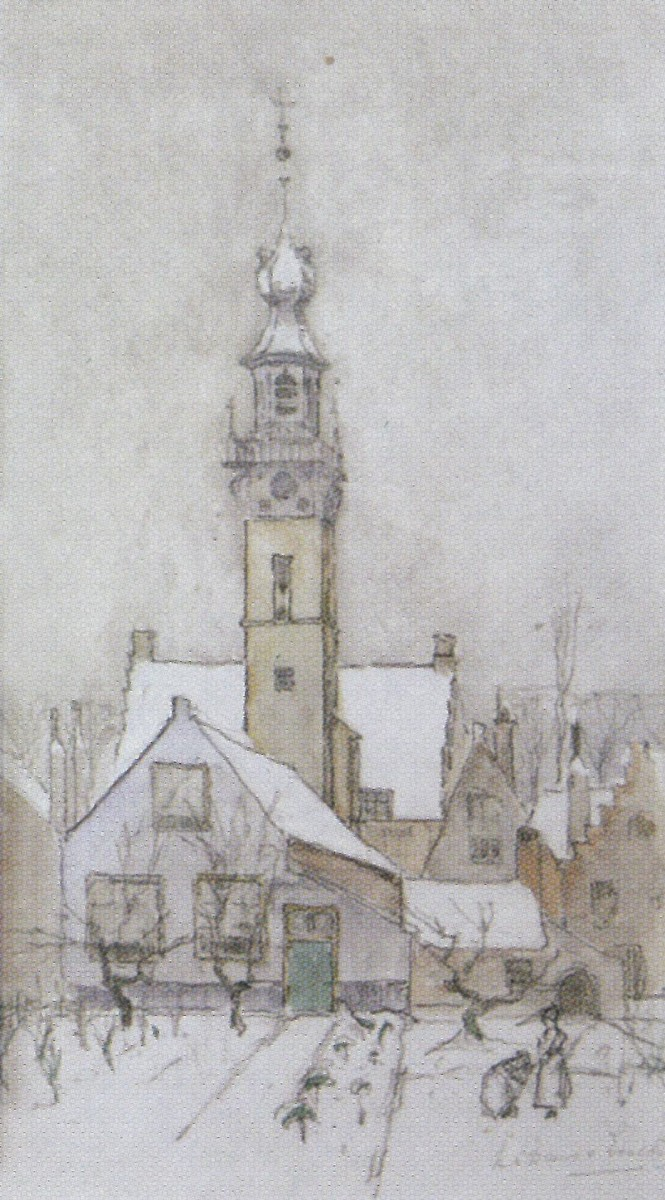 Winter in Veere door Lucie van Dam van Isselt