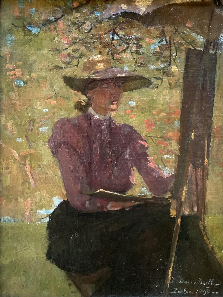 Zelfportret (1898) door Lucie van Dam van Isselt