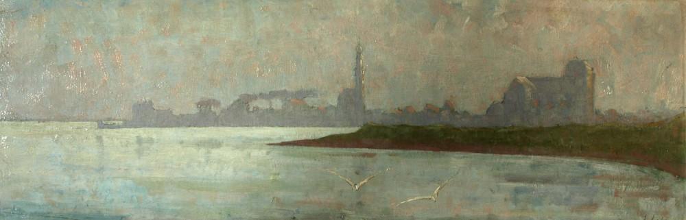 Groote kerk te Veere, maneschijn (ca. 1912-1913) door Lucie van Dam van Isselt