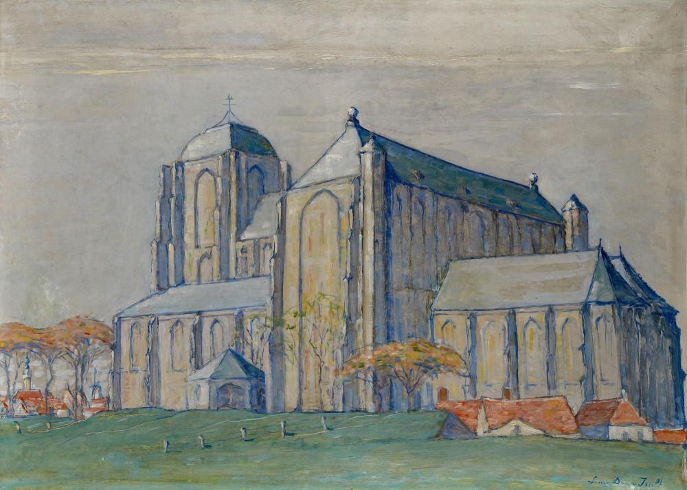 Avond, Groote kerk, Veere (ca. 1912-1913) door Lucie van Dam van Isselt