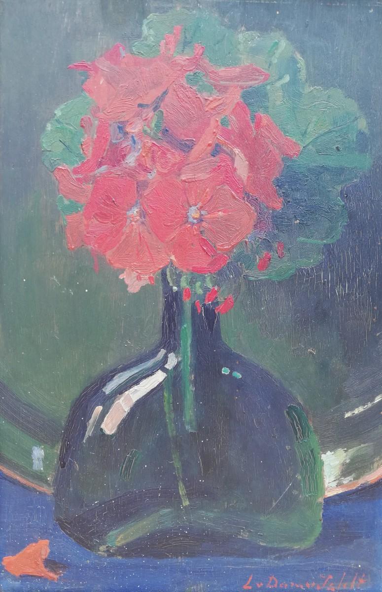 Flesje met geranium (1917-1918) door Lucie van Dam van Isselt