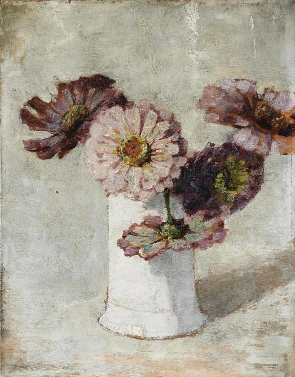 Zinnia's in witte vaas (ca. 1923) door Lucie van Dam van Isselt