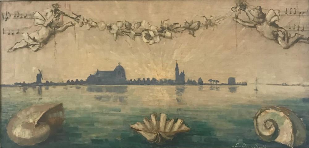 Gezicht op Veere (1943) door Lucie van Dam van Isselt