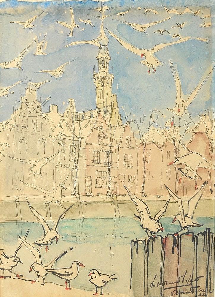 Vogels te Veere (1925) door Lucie van Dam van Isselt