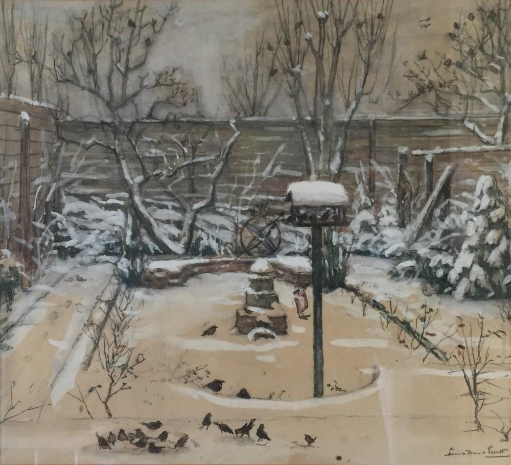 Tuin Cornelis Houtmanstraat in de sneeuw (ca. 1938) door Lucie van Dam van Isselt