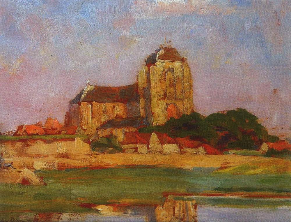 Zicht op Grote Kerk van Veere door Lucie van Dam van Isselt