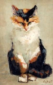 Zittende kat door Lucie van Dam van Isselt