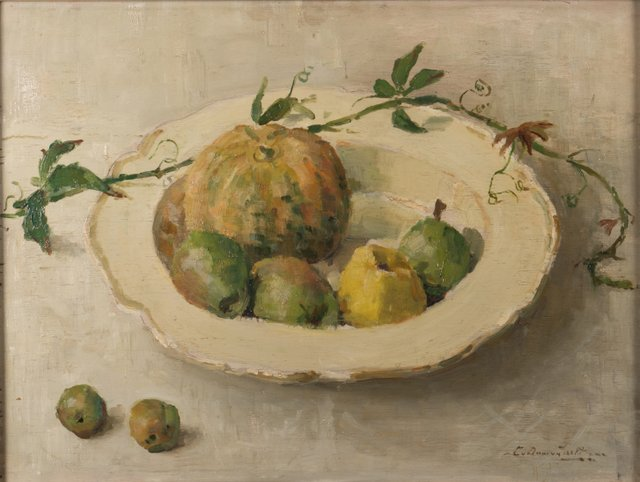 Stilleven met vruchten in schaal door Lucie van Dam van Isselt