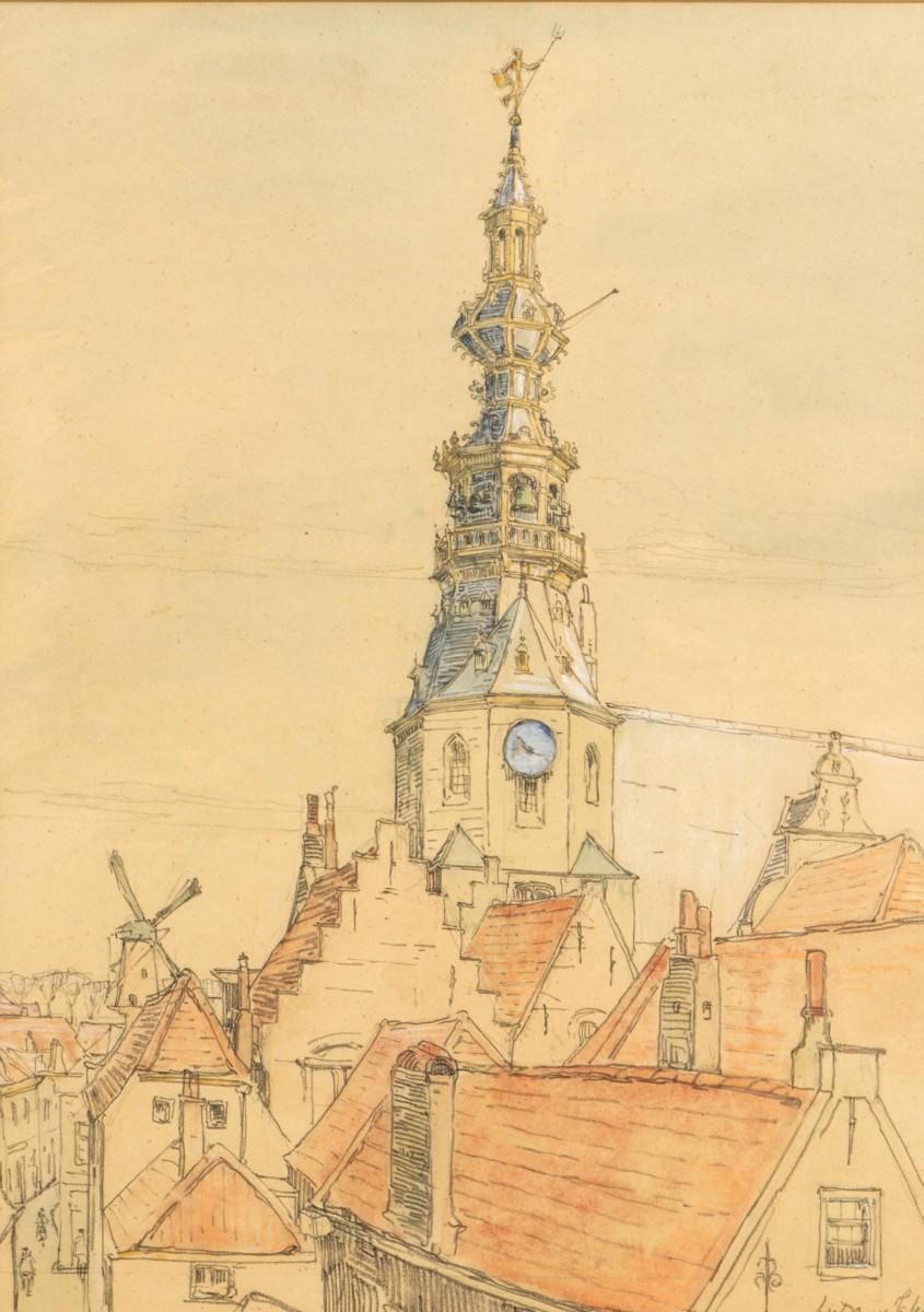 Gezicht op de Christelijke Gereformeerde kerk te Zierikzee (1917) door Lucie van Dam van Isselt