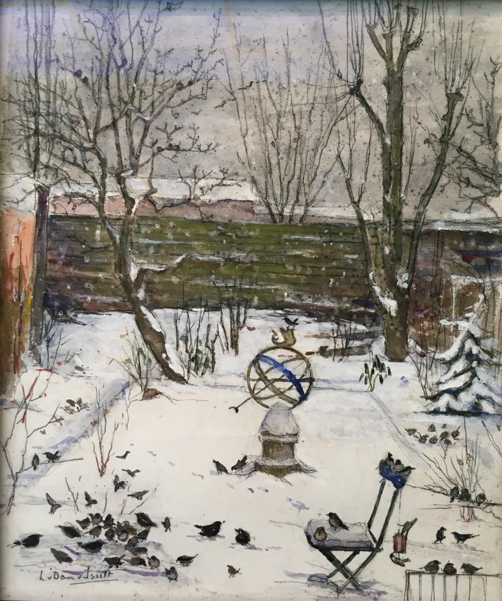 Vogels in een binnentuin door Lucie van Dam van Isselt