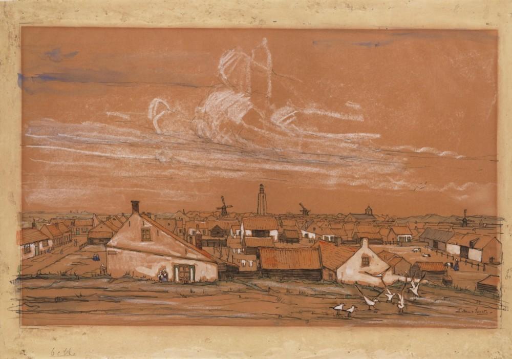 Gezicht op Westkapelle, Walcheren door Lucie van Dam van Isselt