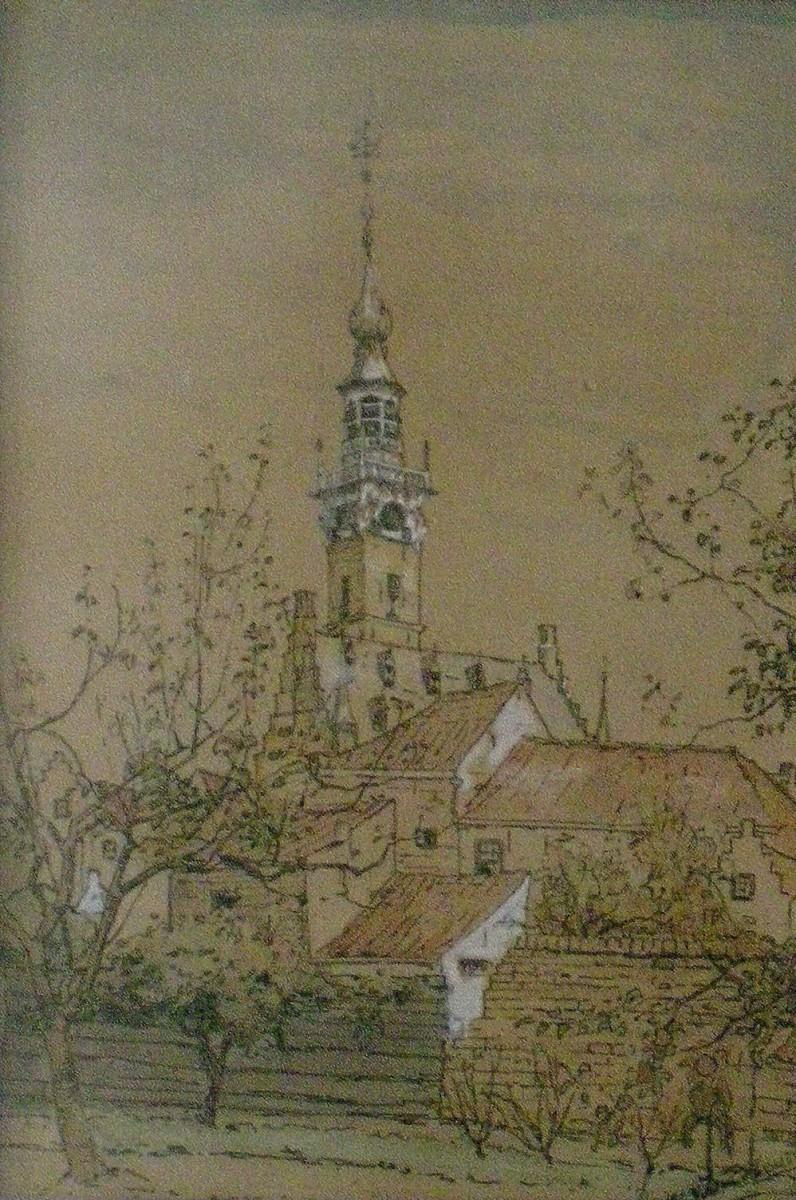 De stadhuistoren te Veere (ca. 1910) door Lucie van Dam van Isselt