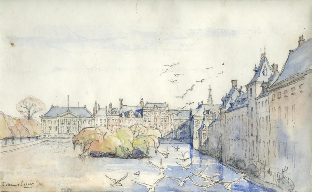 De Hofvijver gezien naar de Korte Vijverberg door Lucie van Dam van Isselt