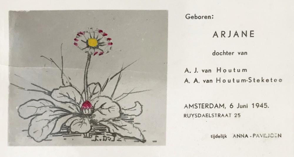 Geboortekaartje (1945) door Lucie van Dam van Isselt