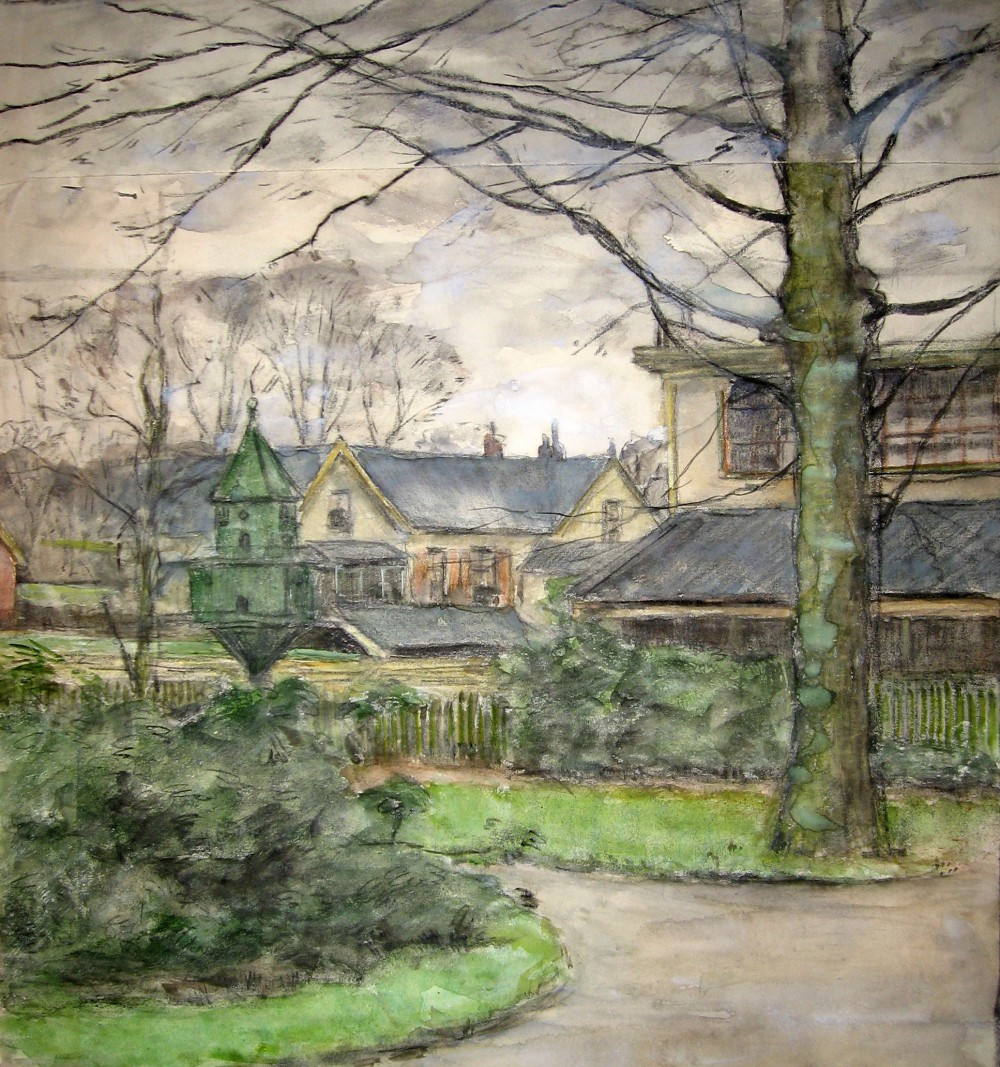 Uitzicht vanuit Beekhof (begin 1900) door Lucie van Dam van Isselt