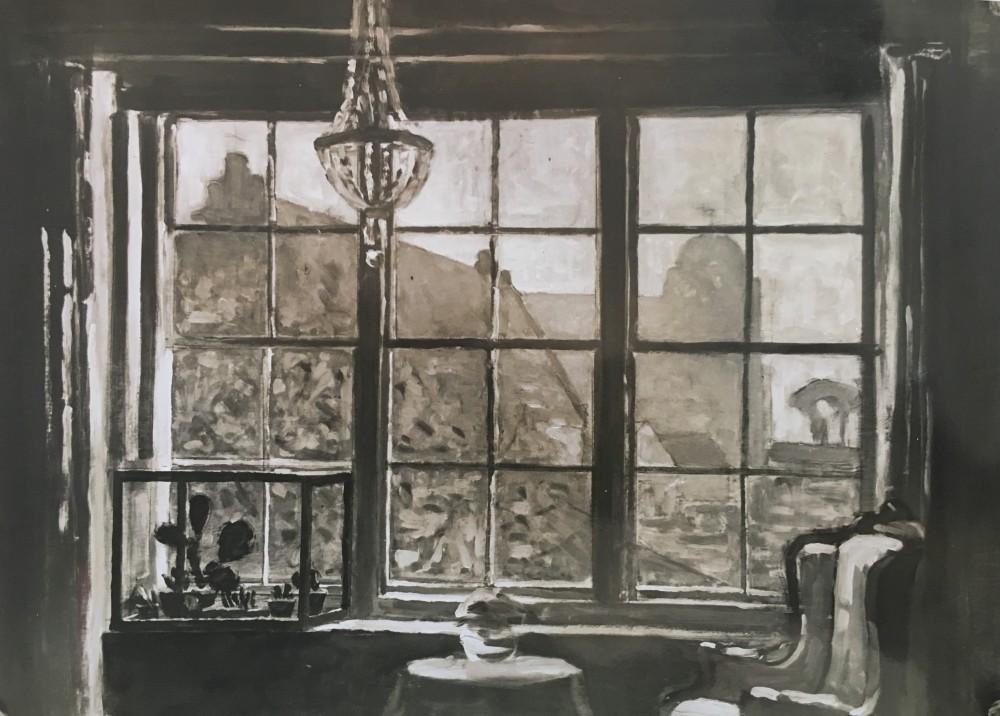 Kijkje uit woonkamer op kerk in Veere door Lucie van Dam van Isselt