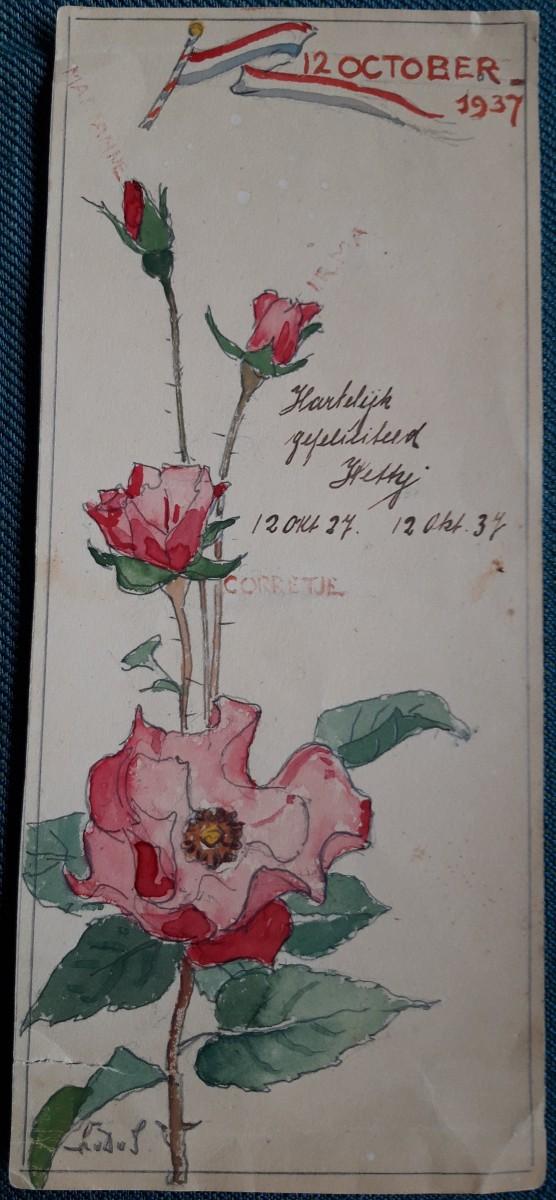 Verjaardagskaart (1937) door Lucie van Dam van isselt