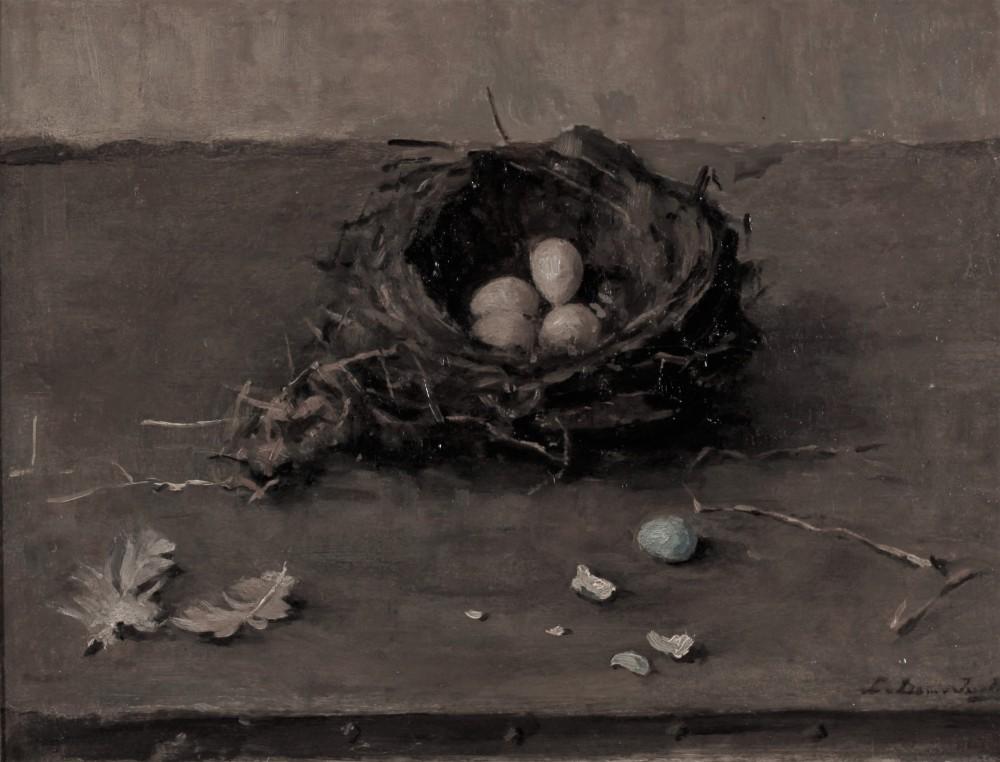 Stilleven met vogelnest en eitjes door Lucie van Dam van Isselt