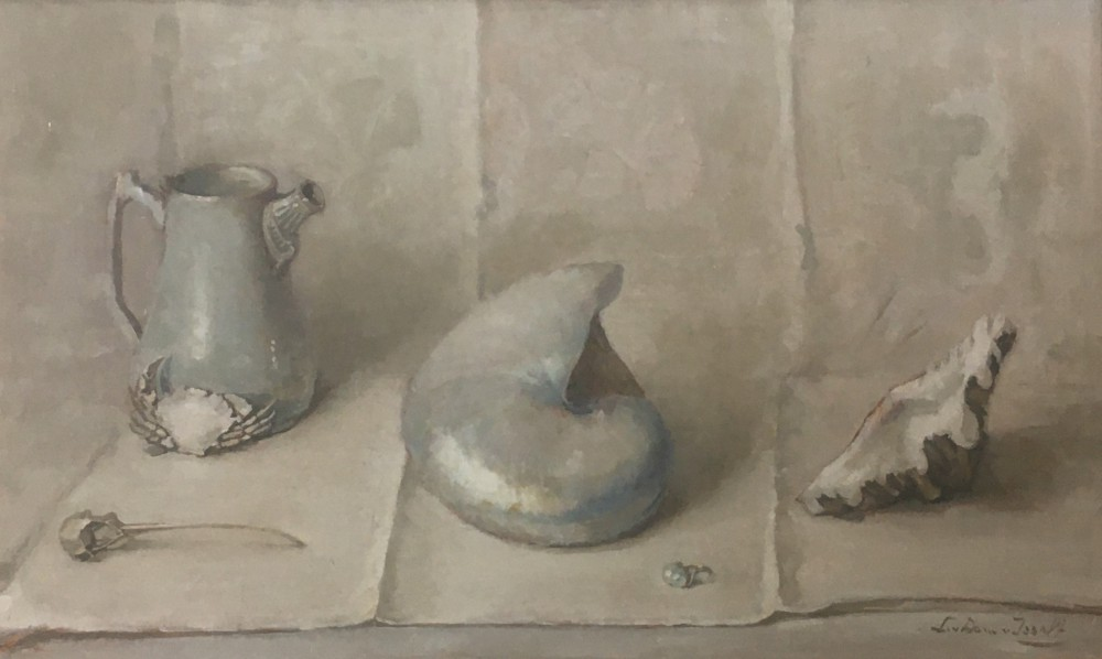 Stilleven met parelmoer door Lucie van Dam van Isselt