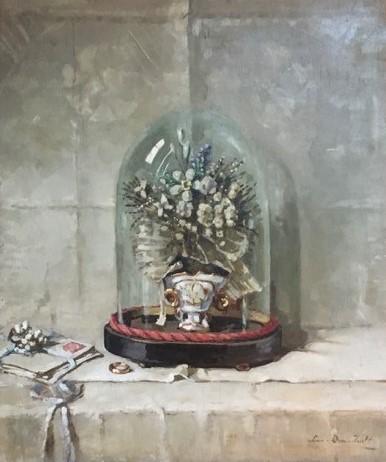 Bruidsboeket onder glazen stolp door Lucie van Dam van Isselt