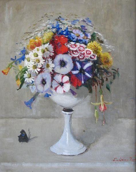 Zomerbloemen op hoge schaal door Lucie van Dam van Isselt