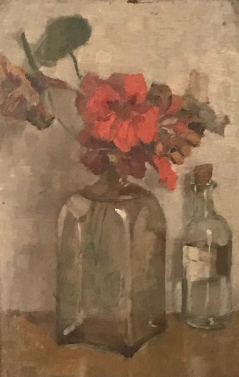 Geranium in fles door Lucie van Dam van Isselt