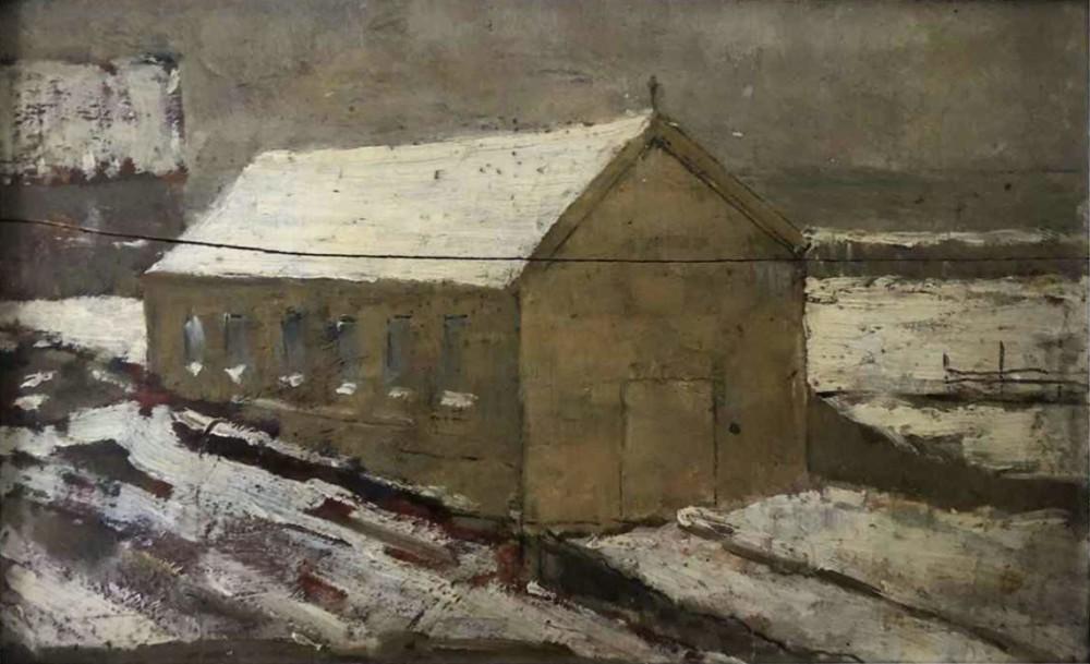 Studie winters kerkje door Lucie van Dam van Isselt