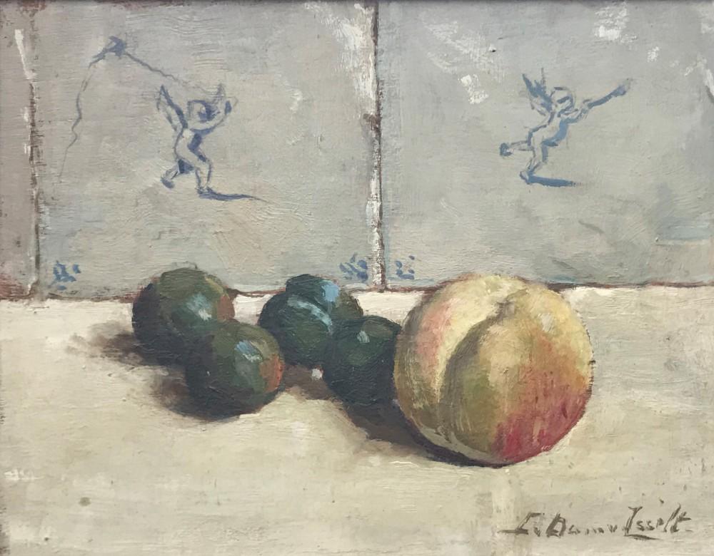 Stilleven met perzik en pruimen (1925-1926) door Lucie van Dam van Isselt