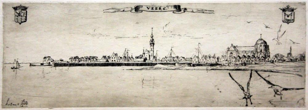 Panorama op Veere (ca. 1908-1910) door Lucie van Dam van Isselt