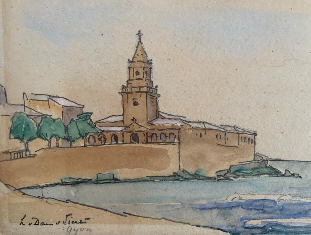 Kerk aan zee door Lucie van Dam van Isselt