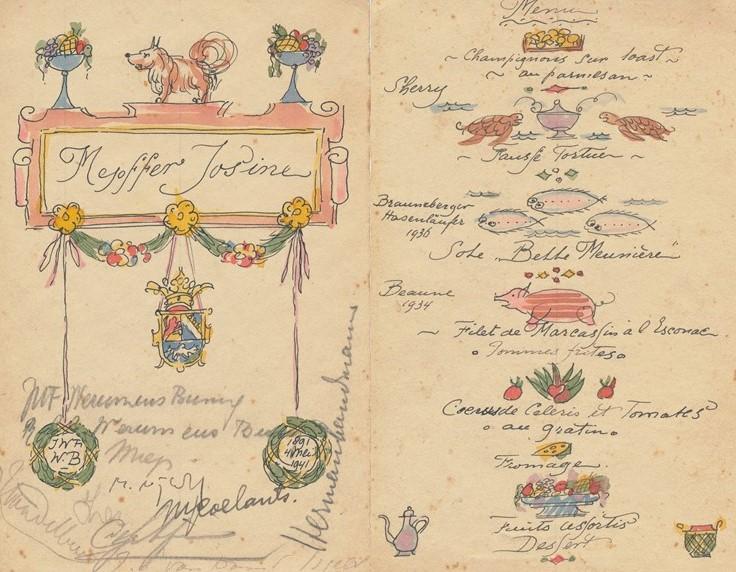 Menukaart (1941) door Lucie van Dam van Isselt