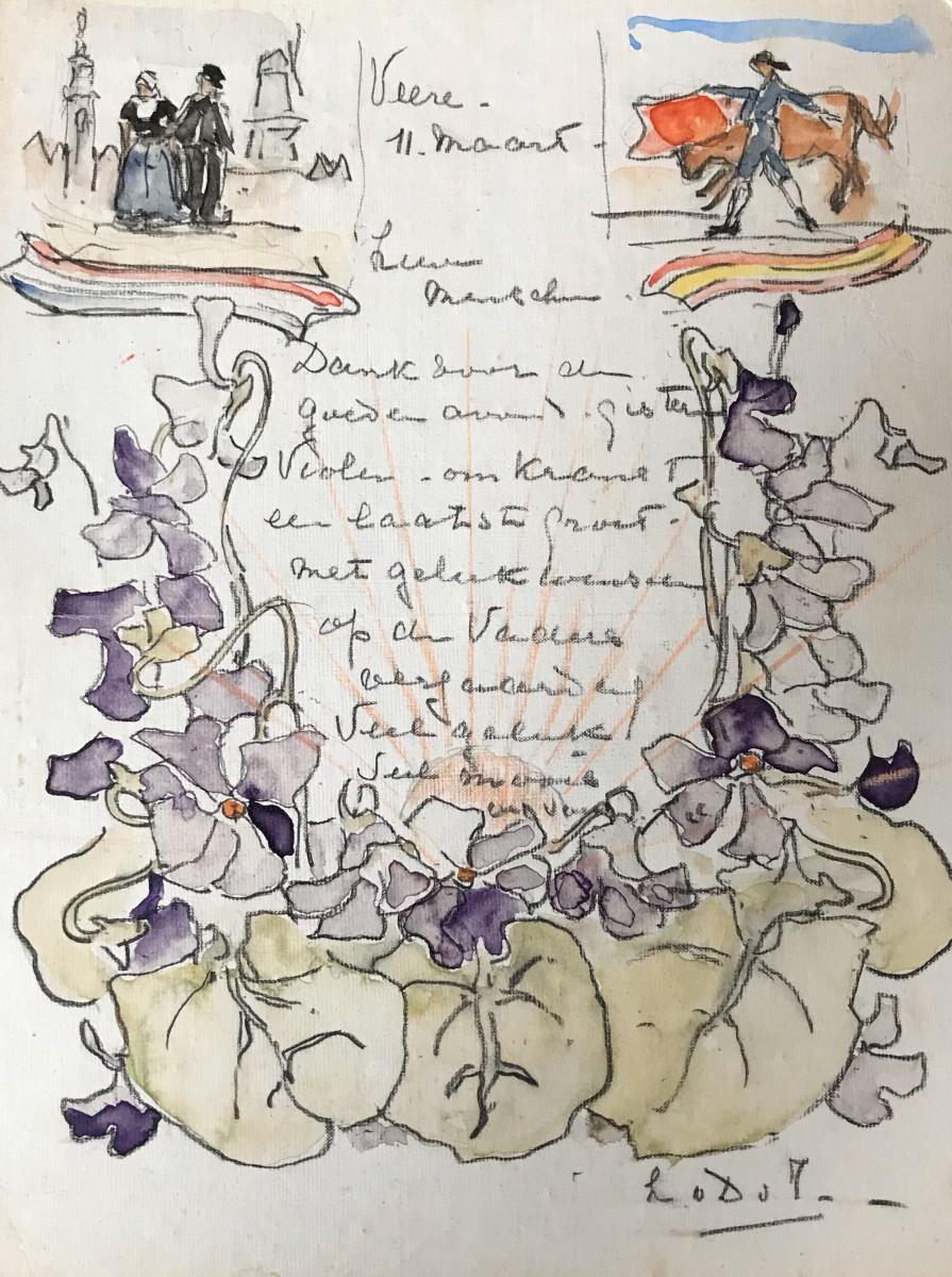Bedankje met violen door Lucie van Dam van Isselt