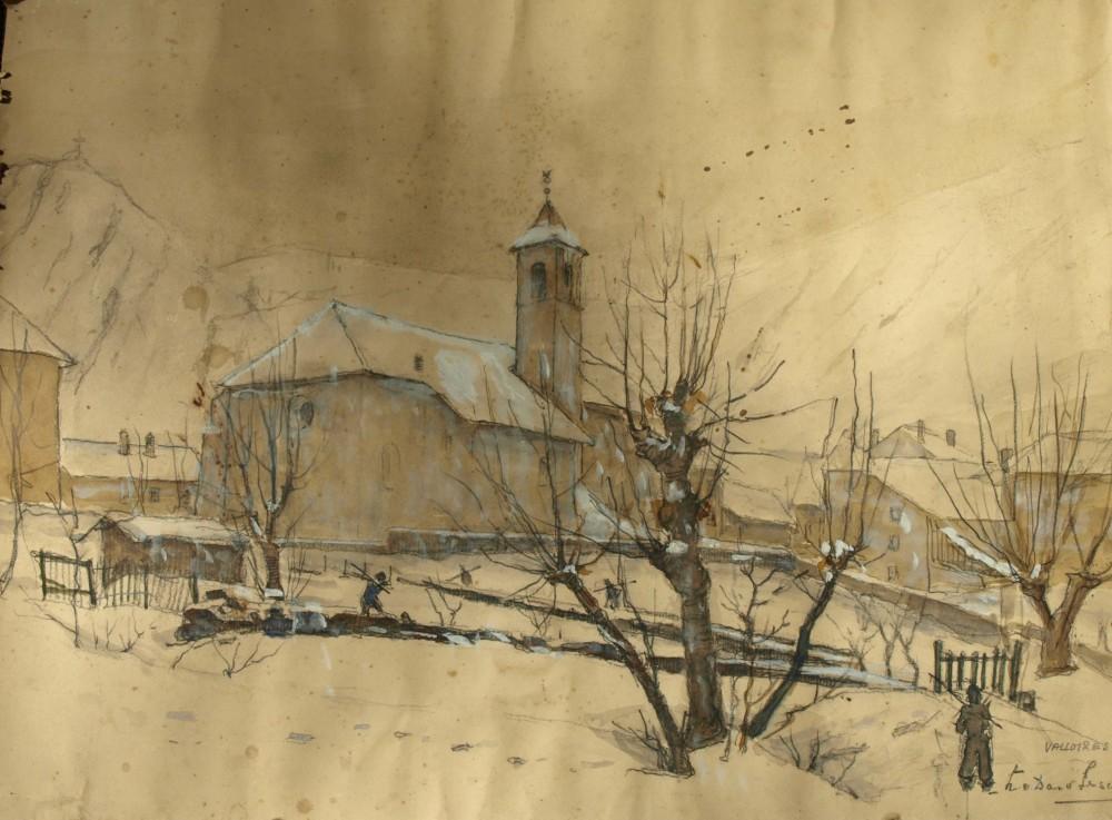 Wintergezicht in Valloires (1937) door Lucie van Dam van Isselt